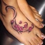Cherry Blossom Ankle Tattoo Designs